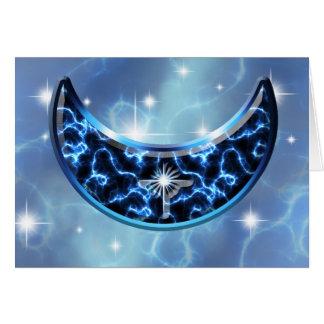 Electric Blue Upright Crescent Card