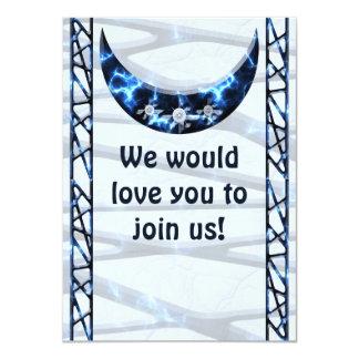 Electric Blue Upright Crescent 4.5x6.25 Paper Invitation Card