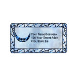 Electric Blue Upright Crescent Personalized Address Labels