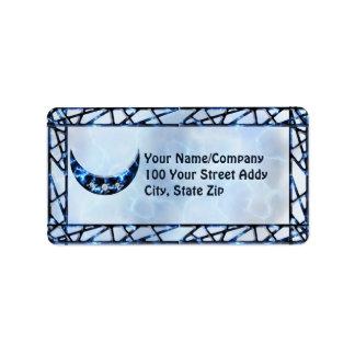 Electric Blue Upright Crescent Label