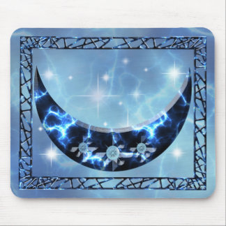 Electric Blue Upright Crescent Mouse Pad