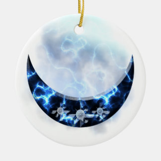 Electric Blue Upright Crescent Double-Sided Ceramic Round Christmas Ornament
