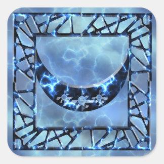 Electric Blue Upright Crescent Square Sticker