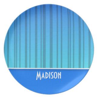 Electric Blue Vertical Stripes; Striped Melamine Plate