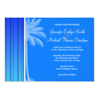Electric Blue Vertical Stripes; Striped; Palm Personalized Invites