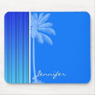 Electric Blue Vertical Stripes; Striped; Palm Mouse Pad
