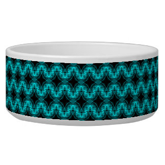 Electric blue waves dog food bowls