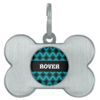 Electric blue waves pet name tag