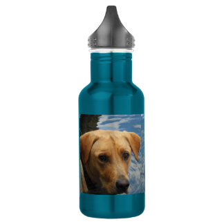 Electric Blue Wet Face Labrador Clear Skies Bottle 18oz Water Bottle