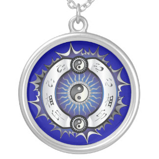Electric Blue Yin Yang Round Pendant Necklace