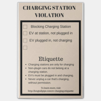 Electric car charging station violation post-it notes