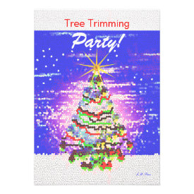 Electric Christmas Tree - Tree Trimming Party Invitation