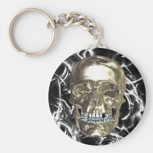 Electric Chrome Skull Key Chain