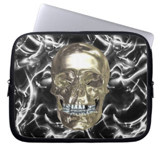 Electric Chrome Skull Laptop Sleeve