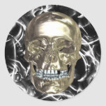Electric Chrome Skull Stickers