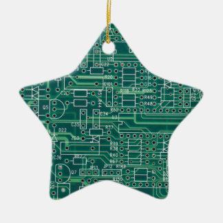 Electric circuit layout ceramic ornament