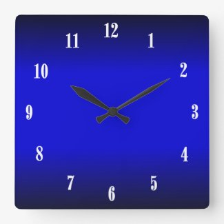 Electric Cobalt Blue White Numbers 2 Wall Clock Wall Clock