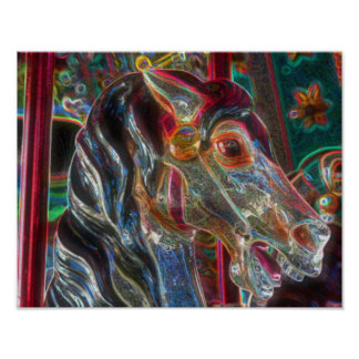 Electric Colors Fiery Steed Carousel Horse Art Poster