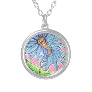Electric Daisy Round Pendant Necklace