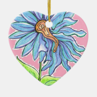 Electric Daisy Double-Sided Heart Ceramic Christmas Ornament