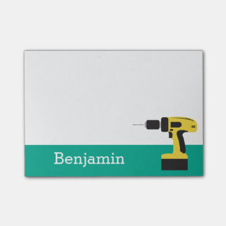 Electric Drill with Custom Name - Emerald Post-it Notes