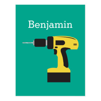 Electric Drill with Custom Name - Emerald Postcard