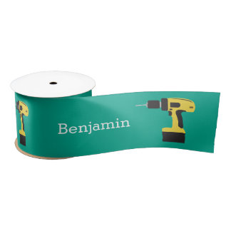 Electric Drill with Custom Name - Emerald Satin Ribbon