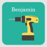 Electric Drill with Custom Name - Emerald Square Sticker