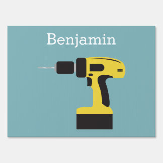 Electric Drill with Custom Name - Light Blue Sign