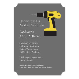 Electric Drill with Custom Name - Yellow and Gray Card