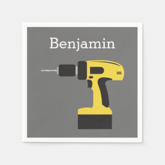 Electric Drill with Custom Name - Yellow and Gray Paper Napkin