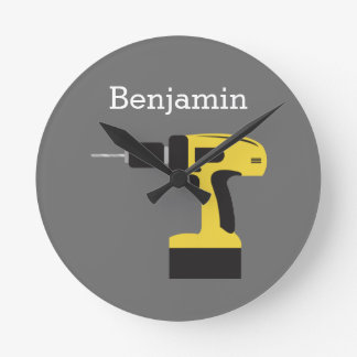 Electric Drill with Custom Name - Yellow and Gray Round Clock