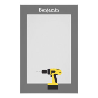 Electric Drill with Custom Name - Yellow and Gray Stationery