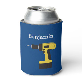 Electric Drill with Custom Name - Yellow and Navy Can Cooler