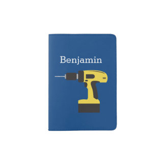 Electric Drill with Custom Name - Yellow and Navy Passport Holder