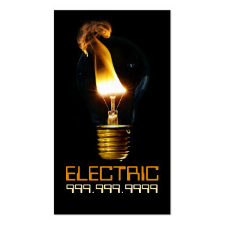 Electric Electrician Electricity Light Bulb Business Card Template