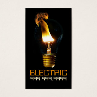 Electric Electrician Electricity Light Bulb Business Card