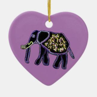 Electric Elephant Heart Ornament