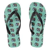 Electric Elephants Flip Flops