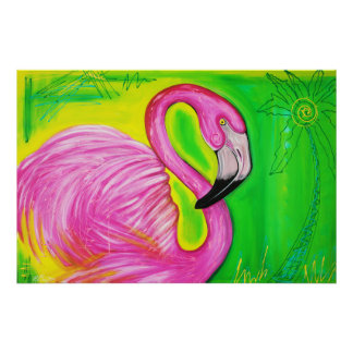 Electric Flamingo Poster