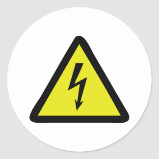 electric flash warning sign round stickers
