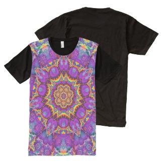 Electric Flower Purple Rainbow Kaleidoscope Art All-Over-Print Shirt