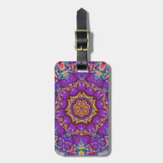 Electric Flower Purple Rainbow Kaleidoscope Art Bag Tag