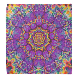 Electric Flower Purple Rainbow Kaleidoscope Art Bandana