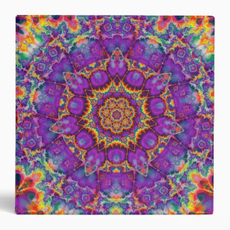 Electric Flower Purple Rainbow Kaleidoscope Art Binder