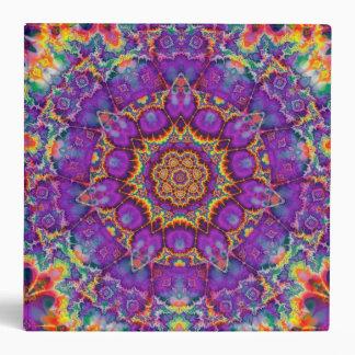 Electric Flower Purple Rainbow Kaleidoscope Art Binder