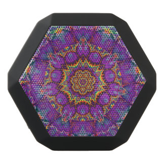 Electric Flower Purple Rainbow Kaleidoscope Art Black Bluetooth Speaker