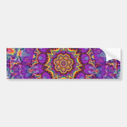Electric Flower Purple Rainbow Kaleidoscope Art Bumper Sticker