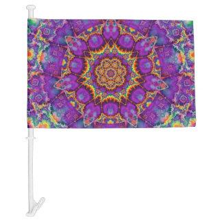 Electric Flower Purple Rainbow Kaleidoscope Art Car Flag
