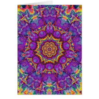 Electric Flower Purple Rainbow Kaleidoscope Art Card
